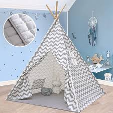 Amazon Com Teepee Tent For Kids With Mat Play Tent For Boy Girl Indoor Outdoor Gray Chevron Heavy Cotton Canvas Teepee Toys Games
