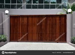 Townhouse Exterior Design Ideas House Exterior Brown Automatic Gates Grey Fence Street Lights Plants Stock Photo C 1000words 186726746