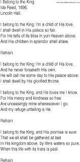 Hymn and Gospel Song Lyrics for I Belong to the King by Ida Reed