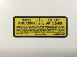 Scoutco Products800 Oil Bath Air Cleaner Decal