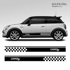 A Pair Of Mini Cooper S One Car Side Stripes Graphics Stickers Decals Applying Stickers Is An Easy And Straightforward Proces Stiker Mobil Mobil Orang Animasi