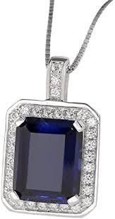 created blue sapphire pendant necklace