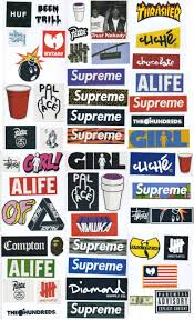 Supreme Sticker Pack 54 Stickers Free Shipping Worldwide Skateboard Vinyl Decal Stickers Supreme Sticker Packs