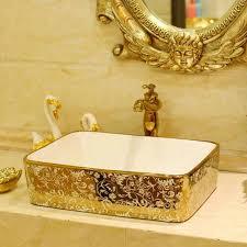 mosaic gold rectanglar washbasin