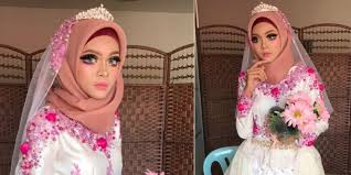 tren baru riasan pengantin hijab mirip