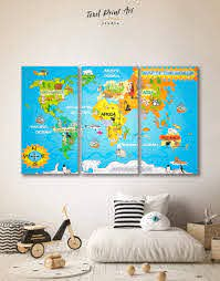3 Piece Map Of The World For Kids Wall Art Canvas Print At
