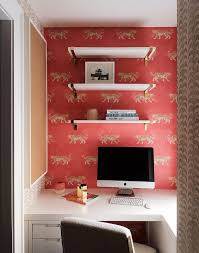 desk nook with red and gold wallpaper