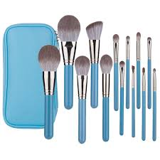 blue makeup brushes set professional
