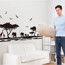 Safari Wall Sticker Tree Wall Stickers With Giraffe Elephant Deer Animal Wall Art For Baby Nursery For Children Room