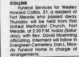 Obituary for Wesley Howard COLLINS (Aged 31) - Newspapers.com