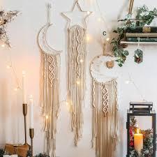 Handmade Star Moon Dream Catcher Macrame Wall Hanging For Kids Room Heyhousecart