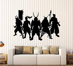 Amazon Com Large Vinyl Wall Decal Samurai Warriors Japan Art Japanese Stickers Large Decor Ig4623 Yellow Home Kitchen