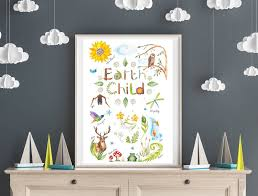 A2 Earth Child Poster Child Room Decor Nature Wall Art Educational Posters For Playroom Eco Friendly Children S Kids Poster Nature Wall Art Kid Room Decor