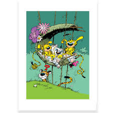 Poster offset Marsupilami The nest of the Marsu family, Franquin ...