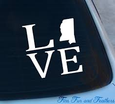 Love Mississippi Decal State Decal Home Decal Ms Sticker Etsy