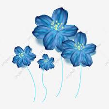 مرسومة باليد رومانسية زرقاء حالمة زهرة المادية حلم زهور زرقاء