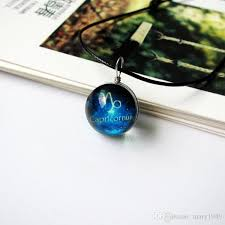 pendants necklace blue glass ball