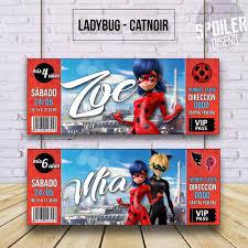 Invitaciones Tarjetas De Cumpleanos Ladybug Cat Noir 6