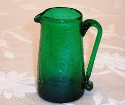 emerald green pitcher vintage le