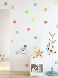 Amazon Com Murwall Polka Dots Wall Decal Watercolor Colorful Wall Stickers Round Wall Decal Peel And Stick Nursery Wall Decor 63 Dots Handmade