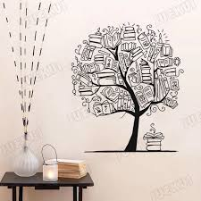 Book Composition Tree Removable Wall Stickers For Nursery Kids Reading Room Vinyl Wall Decals Living Room Art Poster Ta474 Wall Stickers Aliexpress