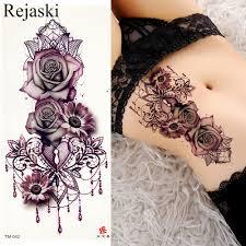 Purpurowa Roza Ornament Woda Transport Tatuaz Naklejki Kobieta