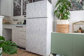 refrigerator a makeover with wallpaper
