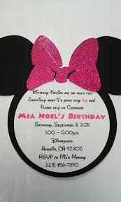 Handmade Minnie Mouse Birthday Invitation Sparkly Hot Pink Bow Qty