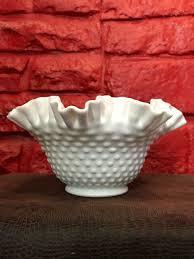 milk glass hob nail crimped footed bowl