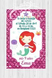 Invitaciones Tarjetas Infantiles Sirena X10 180 00 En