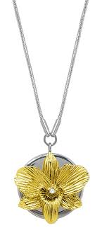 orchid pendant necklace gold