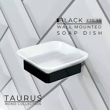 taurus black wall mounted soap dish in