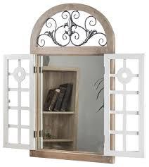 arch window shutter wall vanity mirror