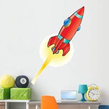 Amazon Com Wallmonkeys Red Space Rocket Wall Decal Peel And Stick Graphic 48 In H X 33 In W Wm91071 Furniture Decor