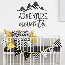 Battoo Adventure Awaits Wall Decal Stickers Adventure Quotes Travel Theme Wall Decor Arrow Wall Decal Mountain Wall Decal Bedroom Nursery Decor Black 44 Wx38 H Wantitall