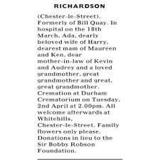 Funeral Notices - ADA RICHARDSON
