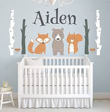 Amazon Com Lovely Decals World Llc Custom Woodland Animals Name Wall Decal Forest Nursery Baby Room Mural Art Decor Vinyl Sticker Ld10 18 W X 10 H Home Kitchen