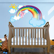 Rainbow Fairy Wall Decal With Clouds And Sun Girl S Room Wall Sticker Kids Good Mural Vinyl Decor Ds 875 26in X 16in Walmart Com Walmart Com
