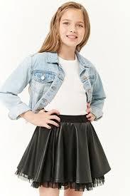 girls faux leather skater skirt kids