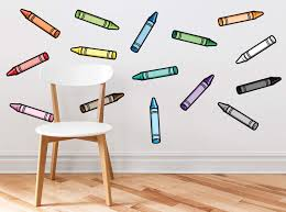 Amazon Com Set Of 15 Crayon Fabric Wall Decals In Different Colors Repositionable Reusable Non Toxic Baby