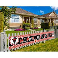 Amazon Com Large Picnic Birthday Banner Bbq Birthday Party Banner Decorations Summer Party Banner 9 8 X 1 5 Feet Office Products