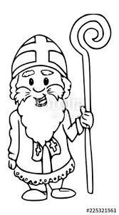 Kleurplaat Lijntekening Sinterklaas Grappig Cartoon Artwork