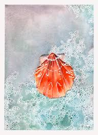 Calico Scallop Painting by Hilda Wagner