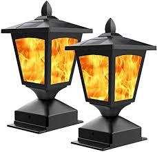 Amazon Com Solar Post Light Outdoor Post Cap Light Flickering Flame Light For Fence 4 X 4 Led Waterproof Deck Lamp Post Top Solar Powered Light For Pathway Garden Patio Yard Landscape Decoration Black