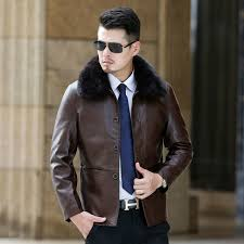 mens faux fur coats winter leather