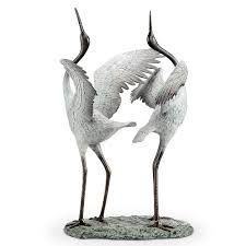 dancing cranes garden statue