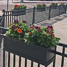 Black Railing Planters On Metal Fence At Local Restaurant Outdoor Seating Area Deck Railing Planters Railing Planters Railing Flower Boxes