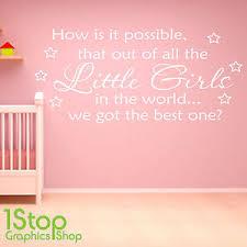 Best Little Girl Wall Sticker Quote Girls Nursery Kids Wall Art Decal X340 Ebay