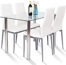 dining table set modern tempered glass