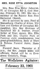 Rose Etta Johnston (Miller) (c.1884 - 1961) - Genealogy